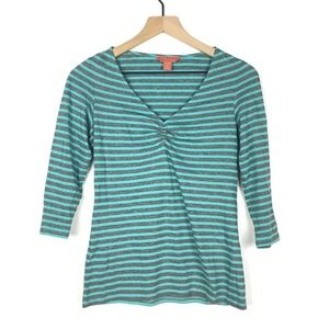 Relax Tommy Bahama Women Top XS Stripe 3/4 Sleeve